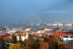 布达佩斯全景有议会的 库存照片