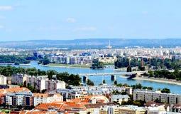 布达佩斯北部全景 免版税库存图片