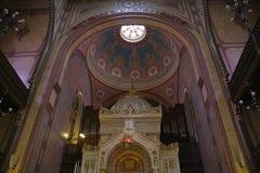 布达佩斯华美的极大的内部犹太教堂 库存照片