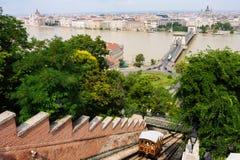 布达佩斯和缆索铁路 图库摄影