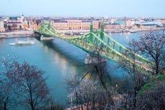 布达佩斯在多瑙河樱桃的自由桥梁开花嘘小船 免版税库存图片