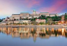 布达佩斯城堡在晚上 免版税库存照片