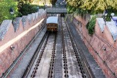 1870布达佩斯城堡小山缆索铁路在布达佩斯 免版税库存照片