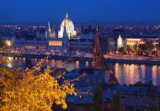 布达佩斯多瑙河夜间议会查看 库存图片