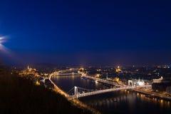 布达佩斯夜全景 免版税图库摄影
