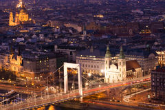 布达佩斯夜全景 免版税库存图片