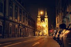 布达佩斯夜视图  库存照片