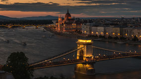 布达佩斯日落 股票录像