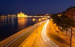 布达佩斯晚上业务量 图库摄影