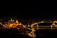 布达佩斯有布达城堡和多瑙河河岸的晚上全景 免版税图库摄影