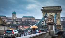 布达佩斯看法有多瑙河、宫殿和铁锁式桥梁的 免版税库存图片
