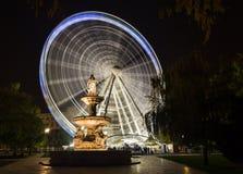 布达佩斯眼睛(Sziget眼睛)在晚上 图库摄影