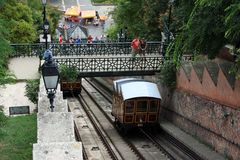 布达佩斯缆索铁路城堡的小山 免版税库存照片