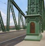 布达佩斯自由桥梁匾 免版税库存图片