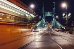 布达佩斯自由桥梁 库存图片