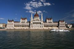 布达佩斯议会从多瑙河观看 库存照片