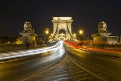布达佩斯铁锁式桥梁 库存照片