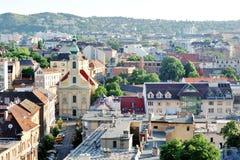 布达佩斯,匈牙利-城市的全景天视图 免版税库存照片