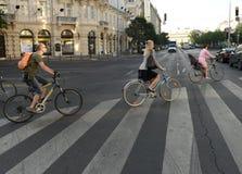 布达佩斯,匈牙利- 2017年8月29日:在Budap街道上的骑自行车者  免版税库存图片