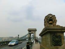 布达佩斯,匈牙利- 2016年1月01日:铁锁式桥梁在布达佩斯,匈牙利 免版税图库摄影