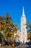 布达佩斯,匈牙利- 2017年11月5日:马赛厄斯教会看法在布达佩斯,匈牙利 免版税库存照片