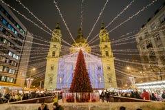 布达佩斯,匈牙利- 2016年12月8日:布达佩斯传统基督 免版税库存照片