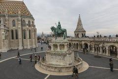 布达佩斯,匈牙利- 2015年12月10日:渔夫的本营在布达佩斯 免版税库存照片