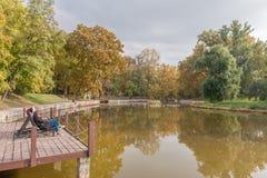 布达佩斯,匈牙利- 2015年10月26日:英雄摆正Parl与湖和秋天树 采取晒日光浴和海鸥的当地人民 库存照片