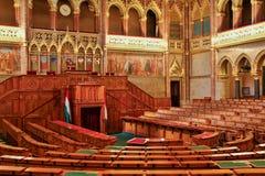 布达佩斯,匈牙利- 2016年5月8日:议会大厦内部看法  库存照片