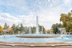 布达佩斯,匈牙利- 2015年10月29日:音乐喷泉在玛格丽特海岛,布达佩斯,匈牙利 库存图片