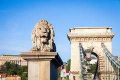 布达佩斯,匈牙利- 5月2017 19日:首先狮子雕象 免版税库存照片