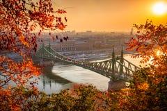 布达佩斯,匈牙利-自由桥梁Szabadsag掩藏了在日出 库存图片