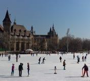 布达佩斯,匈牙利- 02/19/2018 :有人的滑冰场反对老城堡在Varoshelighet停放 冬季体育和乐趣 免版税图库摄影