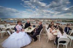 布达佩斯,匈牙利- AVRIL 16日2016年:在渔夫` s韧皮的婚姻 免版税库存图片