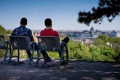 布达佩斯,匈牙利- AVRIL 16日2016年:观点的从罗斯小山的虫 免版税库存图片