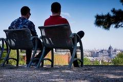 布达佩斯,匈牙利- AVRIL 16日2016年:观点的从罗斯小山的虫 库存照片
