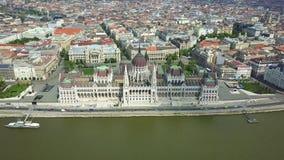 布达佩斯,匈牙利- 4K鸟瞰图匈牙利议会大厦 影视素材