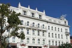 布达佩斯, HUNGARY/EUROPE - 9月21日:咖啡馆Gerbeaud在Budap 免版税库存图片