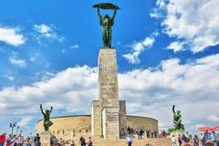 布达佩斯, HUNGURY-MAY 05日2016年:在Gellert hil的自由女神像 免版税库存图片