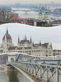 布达佩斯(匈牙利)图象拼贴画-旅行背景(我的pho 免版税库存图片