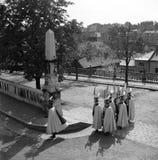 布达佩斯1938年 卫兵的变化在城堡#01上 免版税库存图片