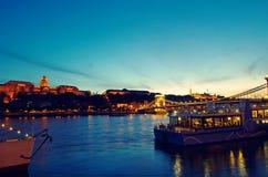 布达佩斯chainbridge 免版税库存图片