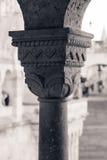 从布达城堡专栏的Capitel细节 免版税库存照片