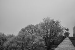 布达城堡在布达佩斯,匈牙利,在冬天 免版税库存照片