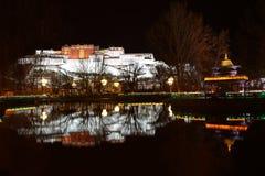 布达拉宫夜扫视  免版税库存图片