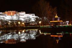 布达拉宫夜扫视  免版税库存照片