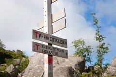 布道台标志挪威 免版税图库摄影