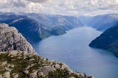 从布道台的Lysefjorden在挪威 免版税库存照片