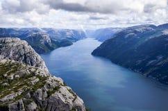 从布道台的Lysefjorden在挪威 库存图片