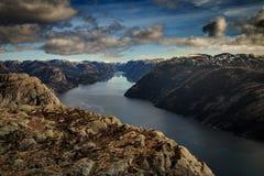 从布道台Lysefjorden,斯塔万格,挪威的看法 免版税库存照片